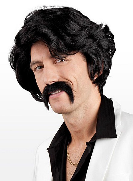 1970s Hair black Wig and Moustache