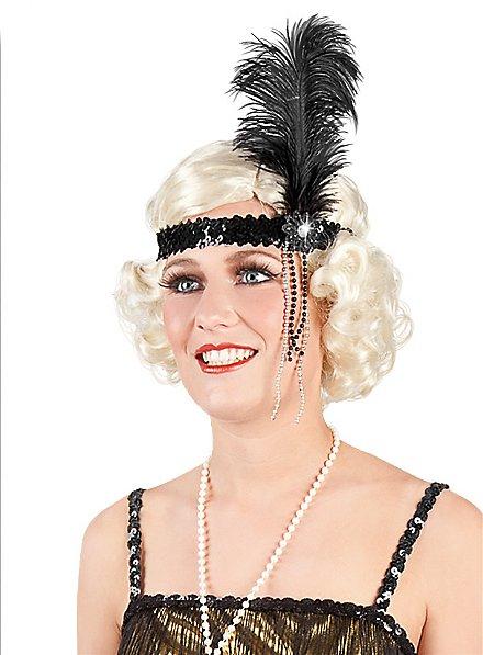 20er Glitzer Stirnband schwarz