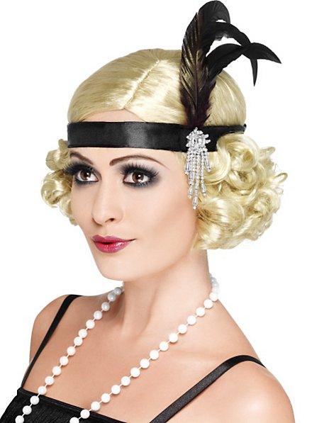 20er Jahre Stirnband schwarz mit Federn