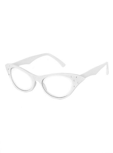 50er Brille weiß