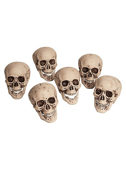6 Totenköpfe im Beutel Halloween Deko