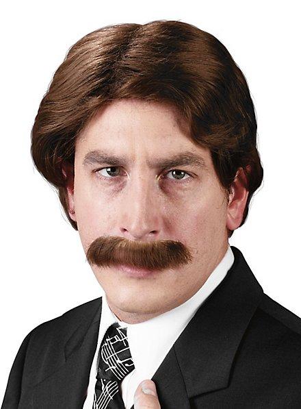 70er Jahre Nachrichtensprecher Perücke mit Bart
