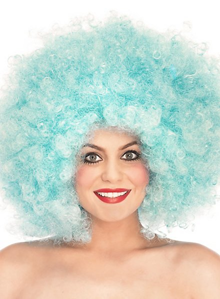 Afro curly wig turquoise