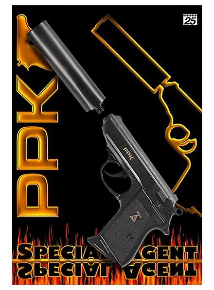 Agenten-Pistole PPK mit Schalldämpfer, 25-Schuss
