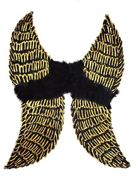 Ailes en plumes noir et doré