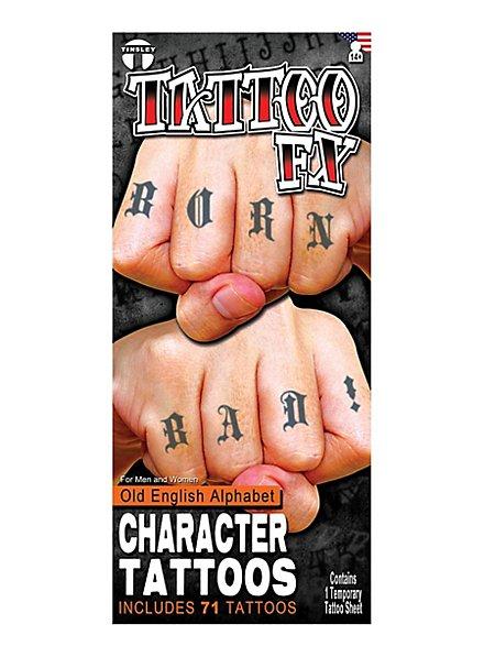 Alphabet Knöchel Klebe-Tattoos