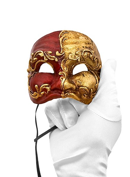 Arlecchino piccolo rosso oro Venezianische Miniaturmaske