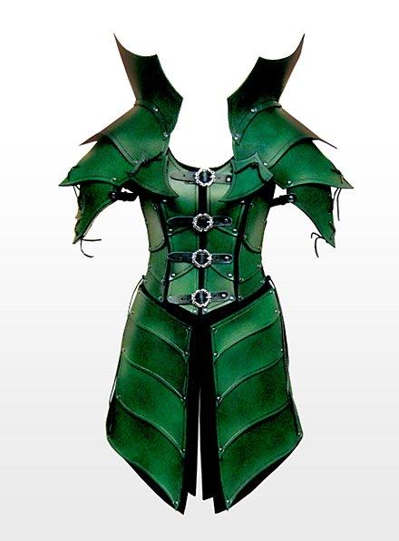 Armure de reine des elfes en cuir vert