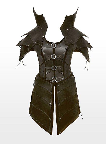Armure de sorcière guerrière en cuir noir
