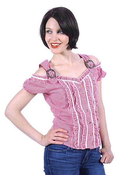 Bavarian Style Gingham Blouse pink & white