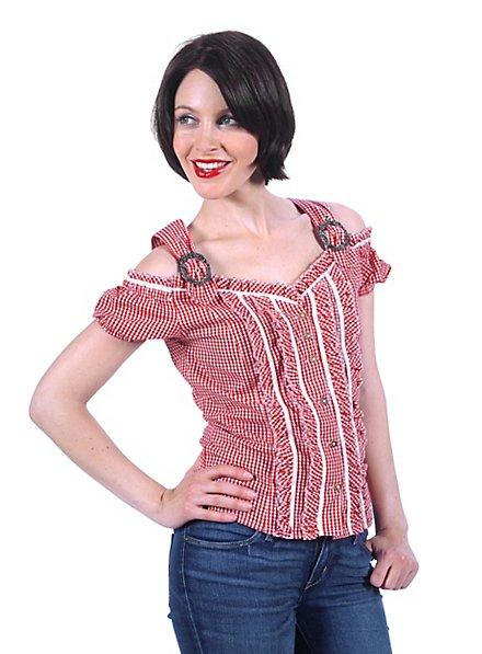 Bavarian Style Gingham Blouse red & white