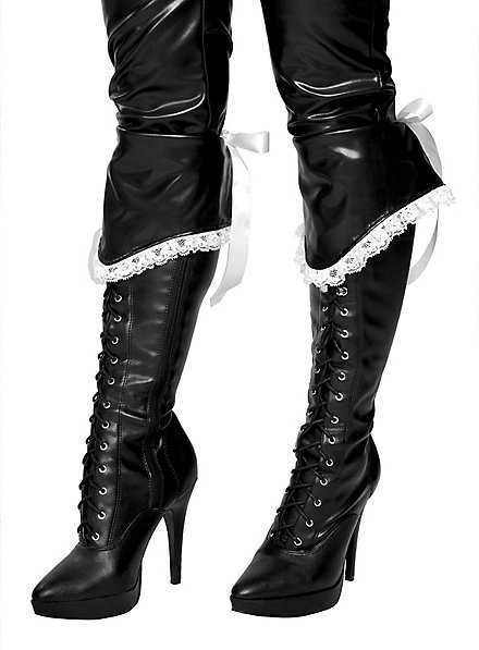 Black Boot Cuffs with White Frill