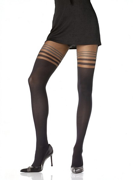 Black pantyhose with stripe pattern