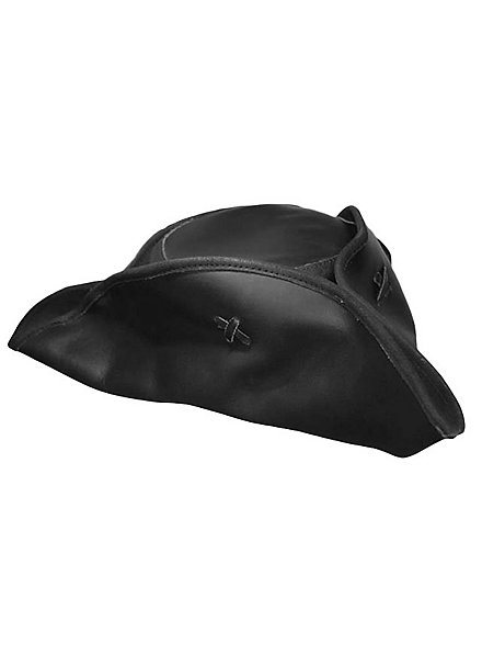 Black tricorn hat made of leather