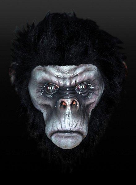 Böser Schimpanse Schwarz Maske aus Latex
