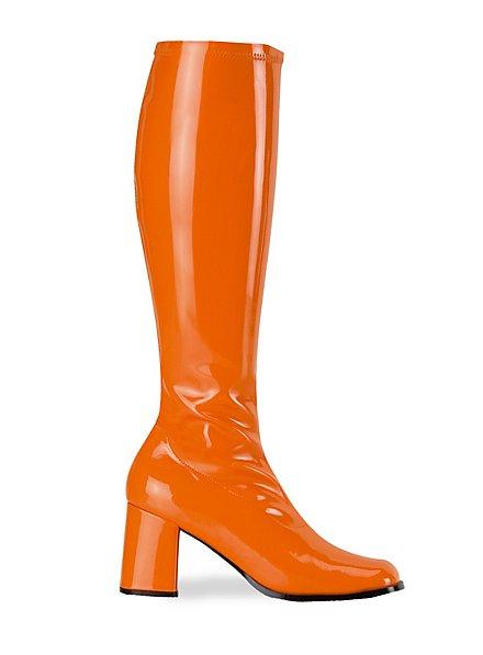 Bottes rétro en vinyle stretch orange