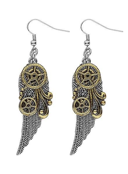 Boucles d'oreille steampunk ailes