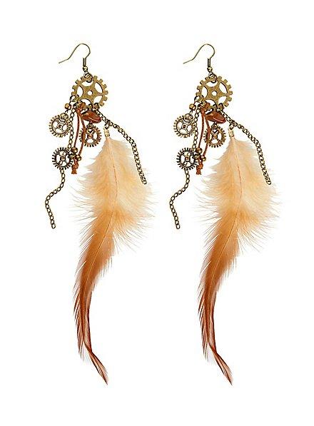 Boucles d'oreille steampunk plumes