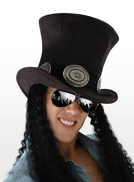 Chapeau hard rock avec cheveux
