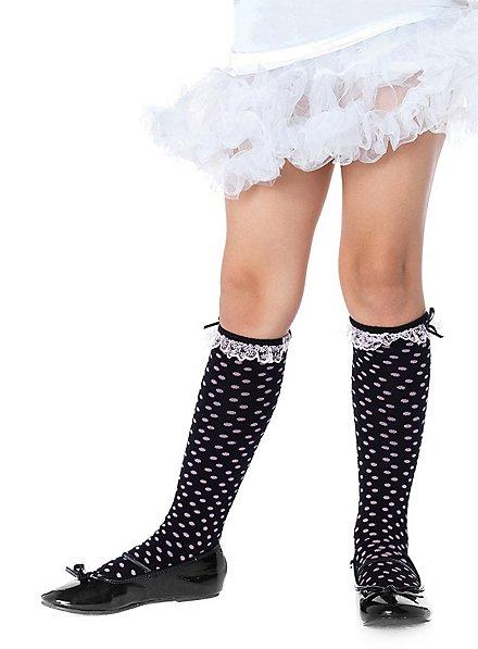 Chaussettes hautes à pois noir et rose pour enfant