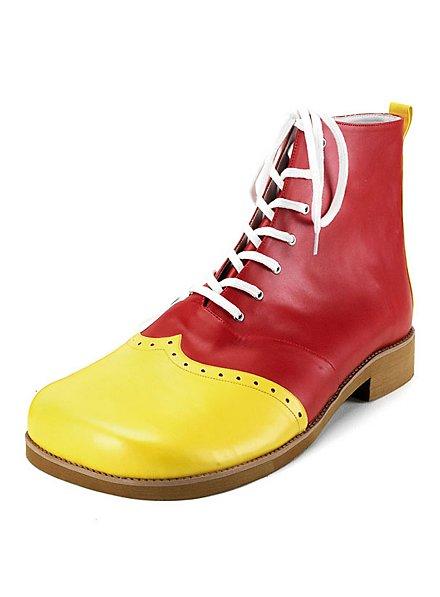 Chaussures de clown jaunes et rouges