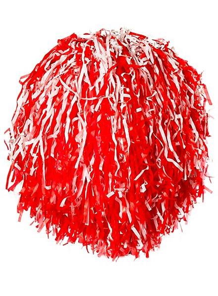 Cheerleader Pompoms rot-weiß
