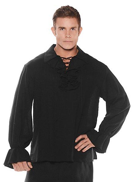 Chemise de pirate à volants noire