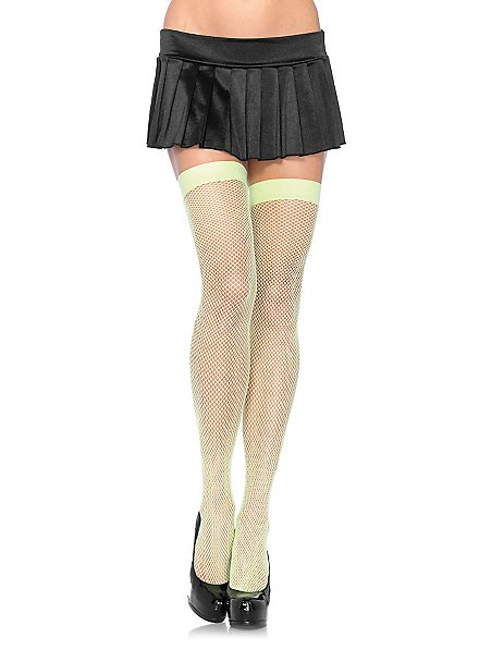Classic fishnet stockings neon green