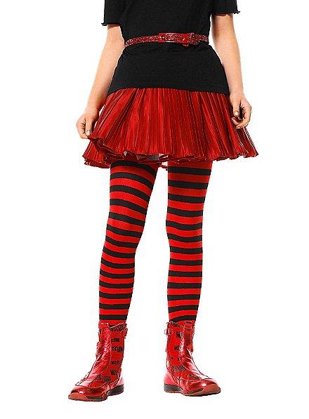 Collants à rayures rouges et noires enfant
