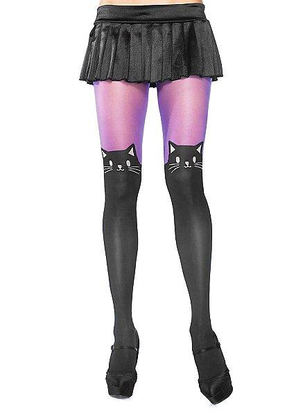 Collants nylon violets à chats