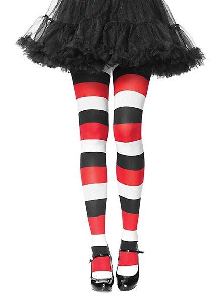 Collants rayés blanc, noir, rouge