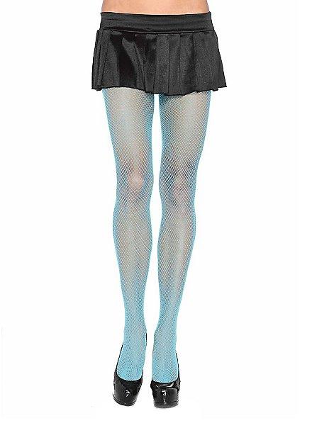 Collants résille bleu clair