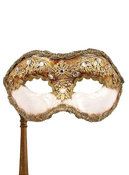 Colombina 1/2 macrame bianco con bastone - Venezianische Maske
