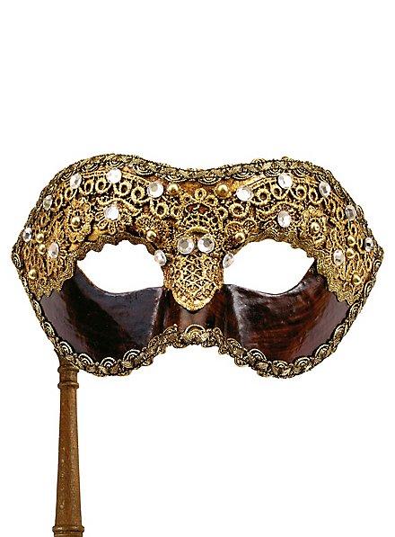 Colombina 1/2 macrame cuoio con bastone - Venezianische Maske