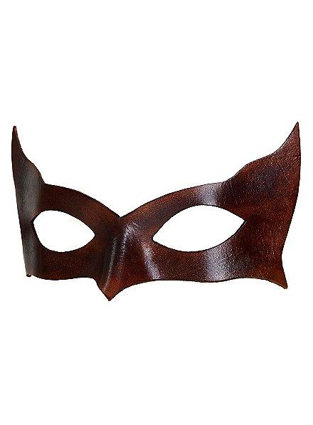 Colombina Incognito marron Masque en cuir vénitien