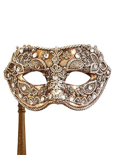 Colombina macrame argento con bastone - Venezianische Maske