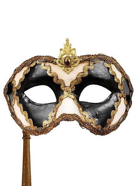 Colombina scacchi bianco nero con bastone - masque vénitien