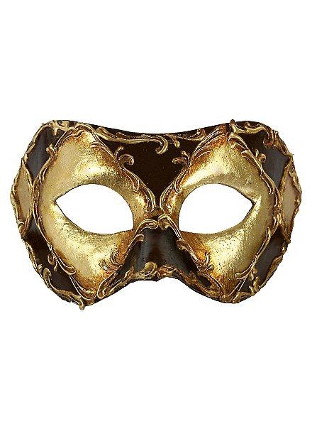 Colombina scacchi oro cuoio stucco - Venezianische Maske