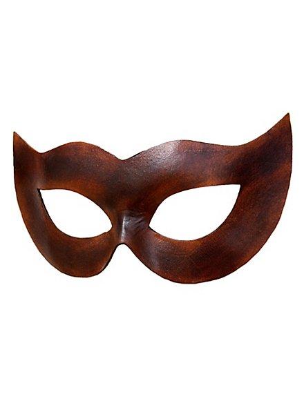 Colombina Spiona marron Masque en cuir vénitien