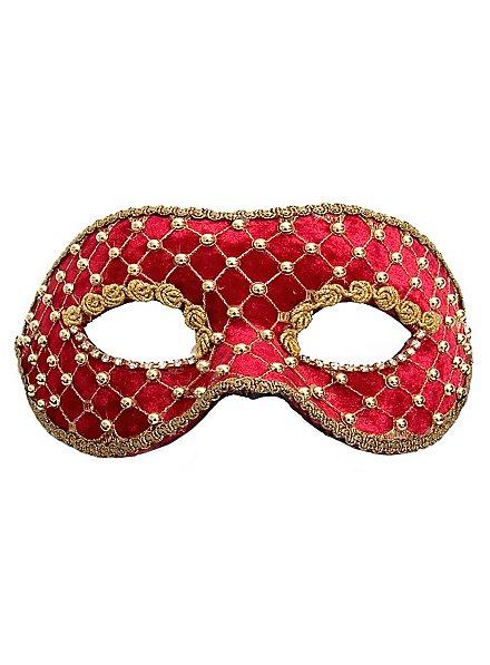 Colombina veluto rosso oro Masque vénitien