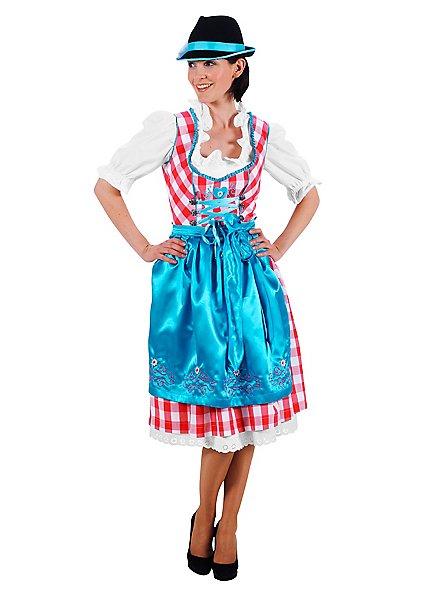 Costume de Bavaroise à carreaux avec tablier bleu ciel