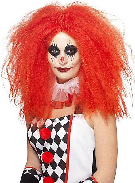 Creped clown wig red