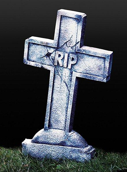 Croix tombale RIP aspect pierre