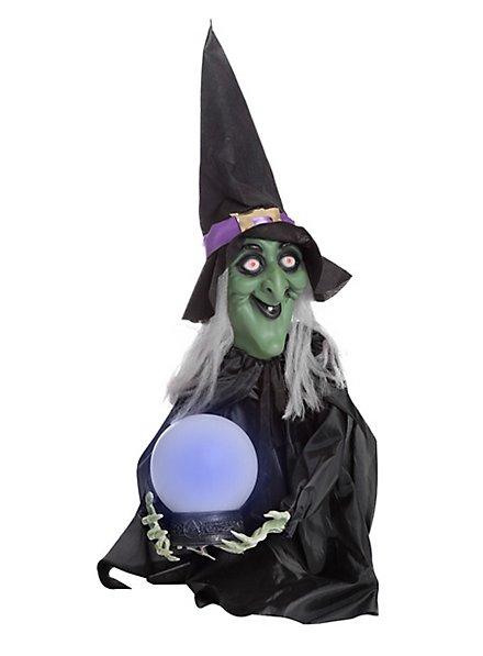Deko Hexe mit leuchtender Kristallkugel
