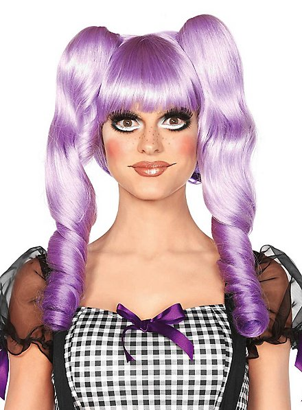 Doll Wig with Pigtail Clips purple