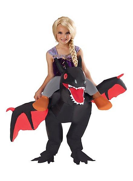 Drachen-Reiter schwarz Aufblasbares Kinderkostüm