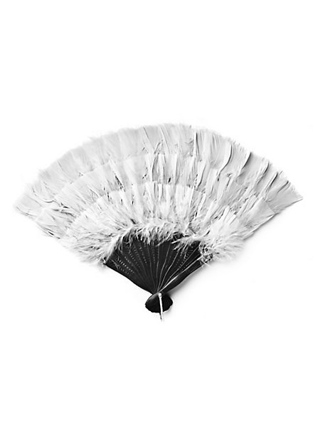 Éventail en plumes blanc