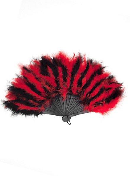 Éventail en plumes noir et rouge