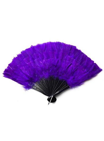 Éventail en plumes violet