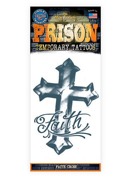 Faith Cross Temporary Prison Tattoo